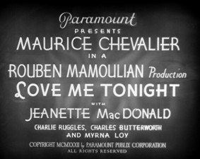 """""""Love Me Tonight"""" opening title card"""